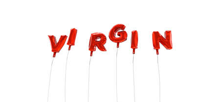 VIRGIN - word made from red foil balloons - 3D rendered.  Can be used for an online banner ad or a print postcard.