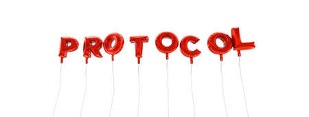 protocol: PROTOCOL - word made from red foil balloons - 3D rendered.  Can be used for an online banner ad or a print postcard. Stock Photo