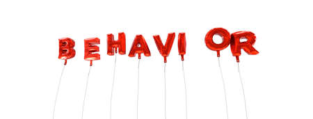behavior: BEHAVIOR - word made from red foil balloons - 3D rendered.  Can be used for an online banner ad or a print postcard.