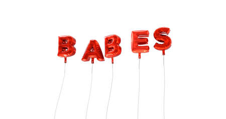 babes: BABES - word made from red foil balloons - 3D rendered.  Can be used for an online banner ad or a print postcard.