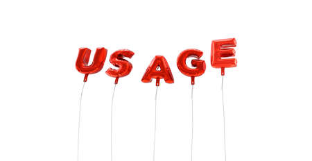 usage: USAGE - word made from red foil balloons - 3D rendered.  Can be used for an online banner ad or a print postcard.