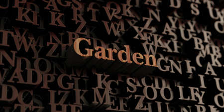 Garden - Wooden 3D rendered lettersmessage.  Can be used for an online banner ad or a print postcard.