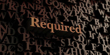 required: Required - Wooden 3D rendered lettersmessage.  Can be used for an online banner ad or a print postcard. Stock Photo