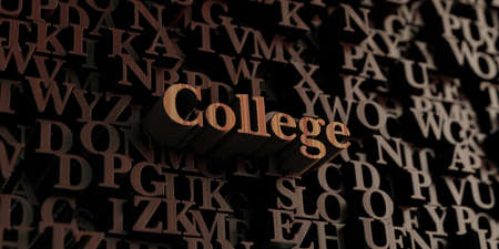 College - Wooden 3D rendered lettersmessage.  Can be used for an online banner ad or a print postcard.