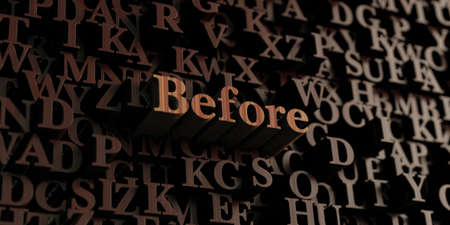 Before - Wooden 3D rendered lettersmessage.  Can be used for an online banner ad or a print postcard.