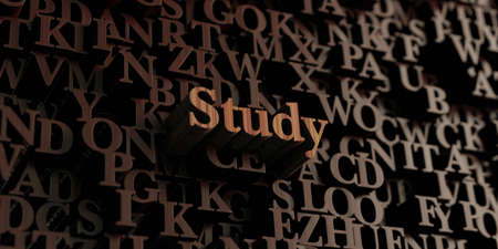 Study - Wooden 3D rendered lettersmessage.  Can be used for an online banner ad or a print postcard. Stock Photo