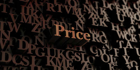 Price - Wooden 3D rendered lettersmessage.  Can be used for an online banner ad or a print postcard.