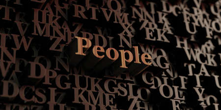 People - Wooden 3D rendered lettersmessage.  Can be used for an online banner ad or a print postcard.
