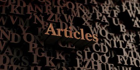 articles: Articles - Wooden 3D rendered lettersmessage.  Can be used for an online banner ad or a print postcard. Stock Photo