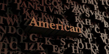 literature: American - Wooden 3D rendered lettersmessage.  Can be used for an online banner ad or a print postcard. Stock Photo