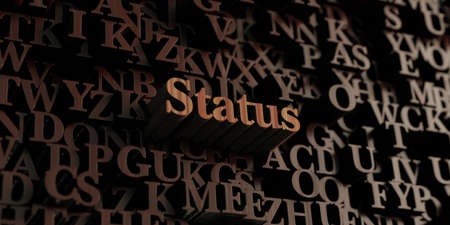 status: Status - Wooden 3D rendered lettersmessage.  Can be used for an online banner ad or a print postcard.