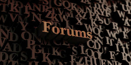 forums: Forums - Wooden 3D rendered lettersmessage.  Can be used for an online banner ad or a print postcard.