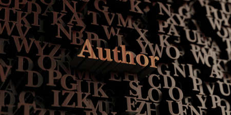 author: Author - Wooden 3D rendered lettersmessage.  Can be used for an online banner ad or a print postcard.