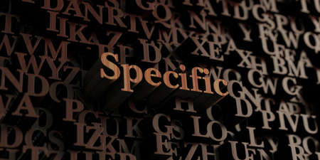 specific: Specific - Wooden 3D rendered lettersmessage.  Can be used for an online banner ad or a print postcard.