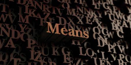 Betekent - Houten 3D letters  bericht. Kan gebruikt worden voor een online banner advertentie of een afdruk briefkaart. Stockfoto