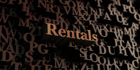 rentals: Rentals - Wooden 3D rendered lettersmessage.  Can be used for an online banner ad or a print postcard. Stock Photo
