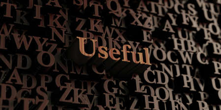 useful: Useful - Wooden 3D rendered lettersmessage.  Can be used for an online banner ad or a print postcard. Stock Photo