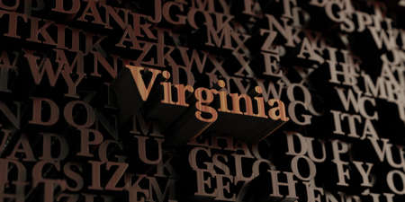 3d virginia: Virginia - Wooden 3D rendered lettersmessage.  Can be used for an online banner ad or a print postcard.