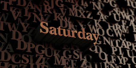 Saturday - Wooden 3D rendered letters/message.  Can be used for an online banner ad or a print postcard. Stock fotó