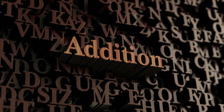 addition: Addition - Wooden 3D rendered lettersmessage.  Can be used for an online banner ad or a print postcard. Stock Photo