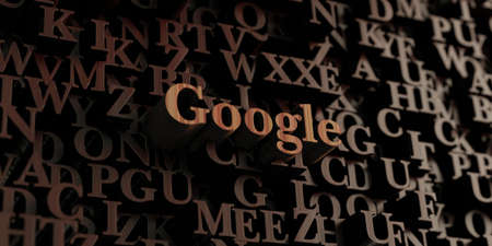 Google - Wooden 3D rendered letters/message.  Can be used for an online banner ad or a print postcard. Stock Photo - 64795331