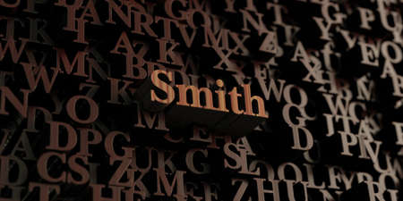 smith: Smith - Wooden 3D rendered lettersmessage.  Can be used for an online banner ad or a print postcard.