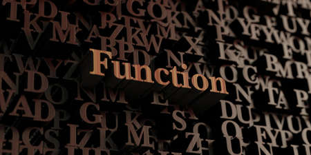 Function - Wooden 3D rendered lettersmessage.  Can be used for an online banner ad or a print postcard.