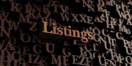 listings: Listings - Wooden 3D rendered lettersmessage.  Can be used for an online banner ad or a print postcard. Stock Photo