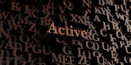 Active - Wooden 3D rendered lettersmessage.  Can be used for an online banner ad or a print postcard. Stock Photo