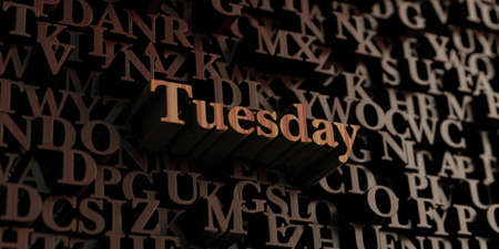 tuesday: Tuesday - Wooden 3D rendered lettersmessage.  Can be used for an online banner ad or a print postcard. Stock Photo