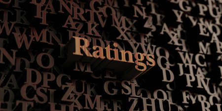 ratings: Ratings - Wooden 3D rendered lettersmessage.  Can be used for an online banner ad or a print postcard.