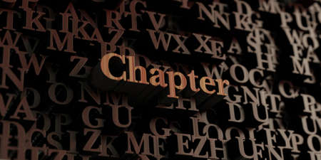 Chapter - Wooden 3D rendered lettersmessage.  Can be used for an online banner ad or a print postcard. Stok Fotoğraf