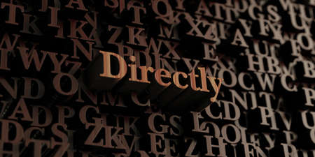 directly: Directly - Wooden 3D rendered lettersmessage.  Can be used for an online banner ad or a print postcard.