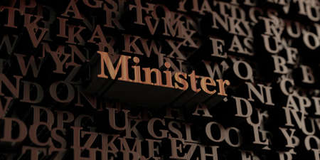 minister: Minister - Wooden 3D rendered lettersmessage.  Can be used for an online banner ad or a print postcard.