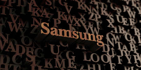 samsung: Samsung - Wooden 3D rendered lettersmessage.  Can be used for an online banner ad or a print postcard.