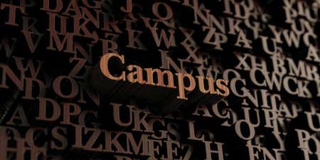 キャンパス - 木製 3 D 文字メッセージを表示されます。 オンラインのバナー広告や印刷のはがきに使用できます。 写真素材