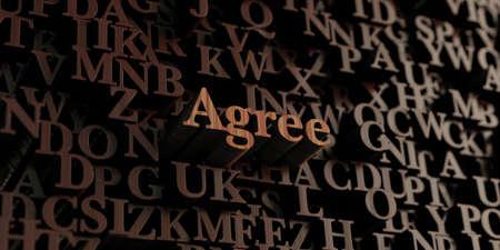 estar de acuerdo: De acuerdo - 3D prestados de madera letras  mensaje. Puede ser utilizado para un banner publicitario en línea o una postal de impresión.