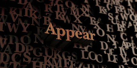 appear: Appear - Wooden 3D rendered lettersmessage.  Can be used for an online banner ad or a print postcard.