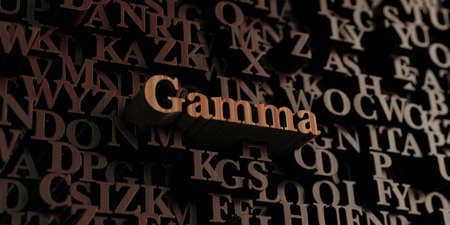 Gamma - Wooden 3D rendered lettersmessage.  Can be used for an online banner ad or a print postcard. Stock Photo