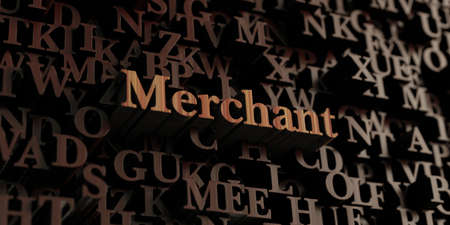 merchant: Merchant - Wooden 3D rendered lettersmessage.  Can be used for an online banner ad or a print postcard. Stock Photo