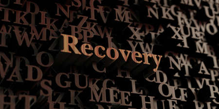 recovery: Recovery - Wooden 3D rendered lettersmessage.  Can be used for an online banner ad or a print postcard. Stock Photo