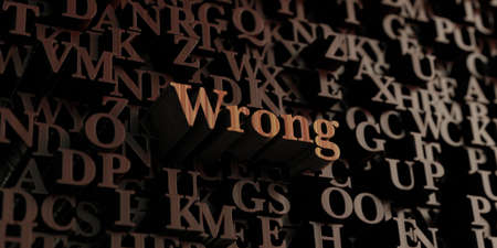 Wrong - Wooden 3D rendered lettersmessage.  Can be used for an online banner ad or a print postcard. Stock Photo