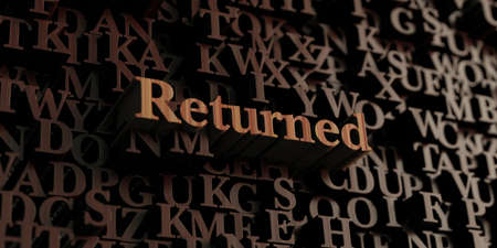 returned: Returned - Wooden 3D rendered lettersmessage.  Can be used for an online banner ad or a print postcard. Stock Photo