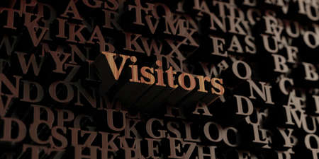 visitors: Visitors - Wooden 3D rendered lettersmessage.  Can be used for an online banner ad or a print postcard.