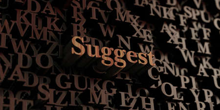 suggest: Suggest - Wooden 3D rendered lettersmessage.  Can be used for an online banner ad or a print postcard. Stock Photo
