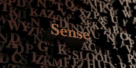 a sense of: Sense - Wooden 3D rendered lettersmessage.  Can be used for an online banner ad or a print postcard. Stock Photo