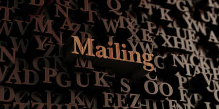 mailing: Mailing - Wooden 3D rendered lettersmessage.  Can be used for an online banner ad or a print postcard.
