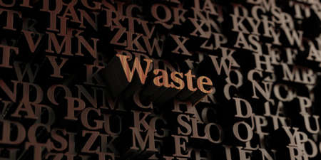 waste 3d: Waste - Wooden 3D rendered lettersmessage.  Can be used for an online banner ad or a print postcard.