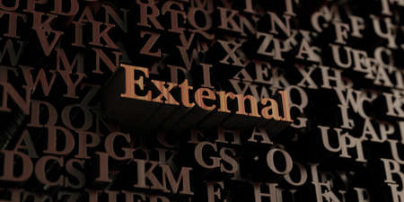 external: External - Wooden 3D rendered lettersmessage.  Can be used for an online banner ad or a print postcard.