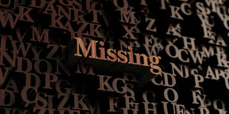 be missing: Missing - Wooden 3D rendered lettersmessage.  Can be used for an online banner ad or a print postcard.